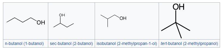 ایزومرهای بوتانول