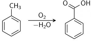 واکنش تولید بنزوییک اسید با استفاده از تولوئن